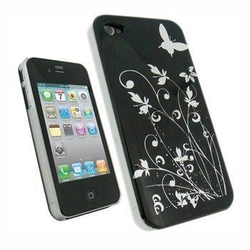 iPhone 4 iGadgitz Silver Butterflies Kova Suojakuori Musta