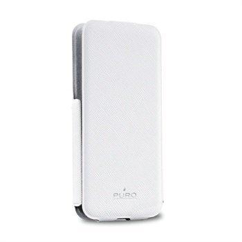 iPhone 5 / 5S Puro Ultra Slim Kannellinen Nahkakotelo Valkoinen