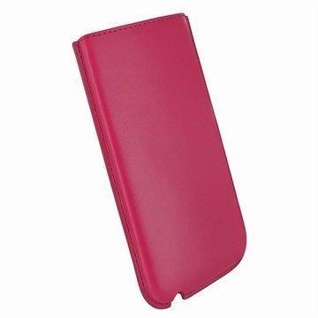 iPhone 5 / 5S / SE / 5C Piel Frama Nahkakotelo Fuksia