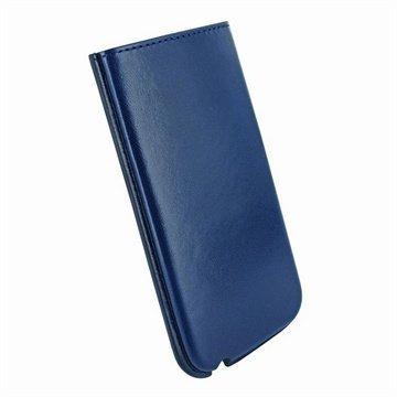 iPhone 5 / 5S / SE / 5C Piel Frama Nahkakotelo Sininen