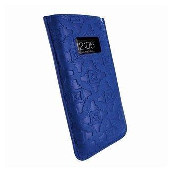 iPhone 5 / 5S / SE / 5C Piel Frama Pull Nahkakotelo Tummansininen