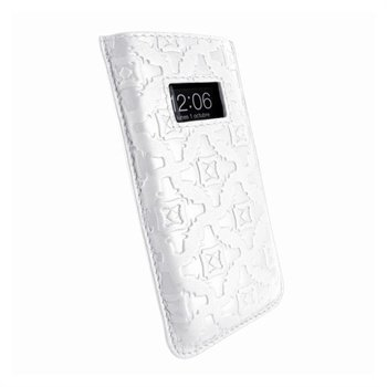 iPhone 5 / 5S / SE / 5C Piel Frama Pull Nahkakotelo Valkoinen