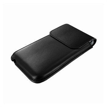 iPhone 5 / 5S / SE / 5C Piel Frama Unipur Nahkakotelo Musta