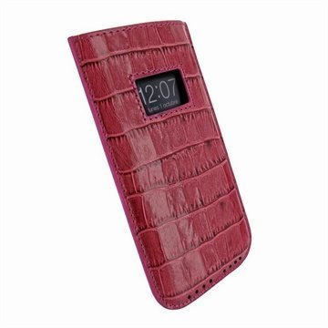 iPhone 5 / 5S / SE / 5C Piel Frama Vetohihna Nahkakotelo Krokotiili Fuksia