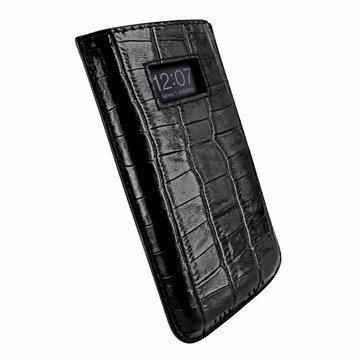 iPhone 5 / 5S / SE / 5C Piel Frama Vetohihna Nahkakotelo Krokotiili Musta