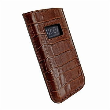iPhone 5 / 5S / SE / 5C Piel Frama Vetohihna Nahkakotelo Krokotiili Ruskea
