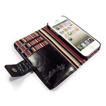 iPhone 5 / 5S / SE Alston Craig Vintage Wallet Nahkakotelo Aitoa Nahkaa Musta