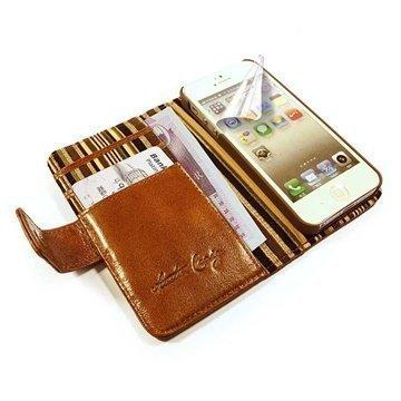 iPhone 5 / 5S / SE Alston Craig Vintage Wallet Nahkakotelo Aitoa Nahkaa Ruskea