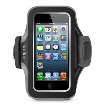 iPhone 5 / 5S / SE Belkin Slim Fit Neopreeni Urheilukotelo Musta / Harmaa