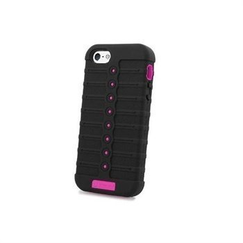 iPhone 5 / 5S / SE Beyond Cell Duo Shield Silicone Case Black / Hot Pink