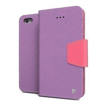 iPhone 5 / 5S / SE Beyond Cell Infolio Nahkainen Lompakkokotelo Violetti / Pinkki