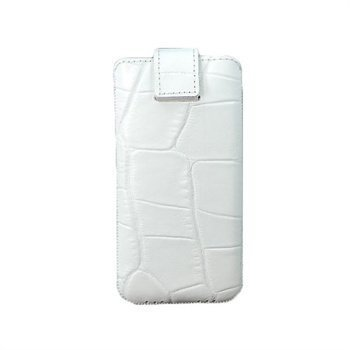 iPhone 5 / 5S / SE Blumax Nahkakotelo Krokotiili Valkoinen