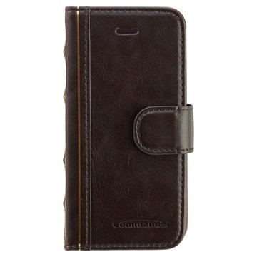 iPhone 5 / 5S / SE Commander Book Elite Antique Läpällinen Nahkakotelo Ruskea