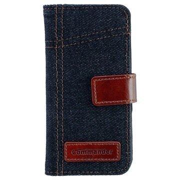 iPhone 5 / 5S / SE Commander Book Elite Jeans Läppäkotelo Farkkukangas Sininen / Ruskea