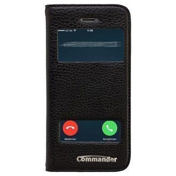 iPhone 5 / 5S / SE Commander Double Window Läpällinen Nahkakotelo Musta