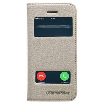 iPhone 5 / 5S / SE Commander Double Window Läpällinen Nahkakotelo Valkoinen