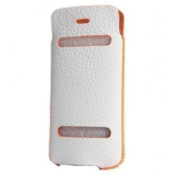 iPhone 5 / 5S / SE DC Casual Leather Case White / Orange