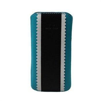 iPhone 5 / 5S / SE DC Kasc Pehmeä Nahkakotelo Turkoosi /Musta / Valkoinen
