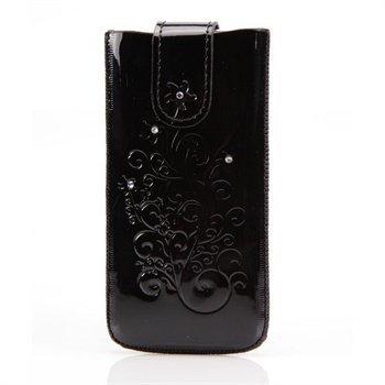 iPhone 5 / 5S / SE DC SRC Protect Silvery Nahkakotelo Musta / Valkoinen Kivi