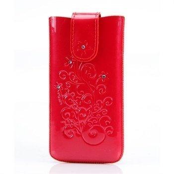 iPhone 5 / 5S / SE DC SRC Protect Silvery Nahkakotelo Punainen / Valkoinen Kivi