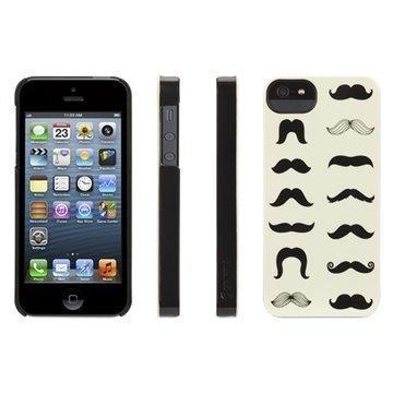iPhone 5 / 5S / SE Griffin Mustachio Kotelo Musta / Valkoinen