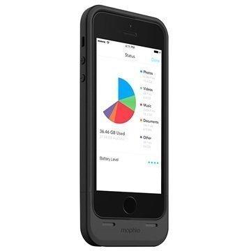 iPhone 5 / 5S / SE Mophie Space Pack Akkukotelo 16GB Musta