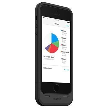 iPhone 5 / 5S / SE Mophie Space Pack Akkukotelo 32GB Musta