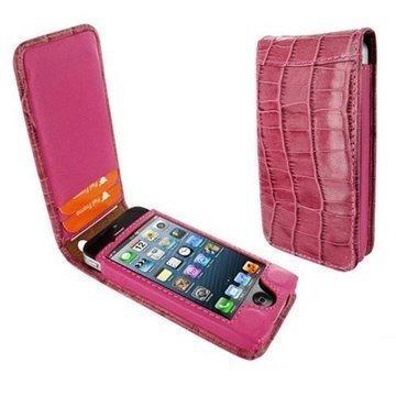iPhone 5 / 5S / SE Piel Frama Classic Magneettinen Nahkakotelo Krokotiili Fuksia