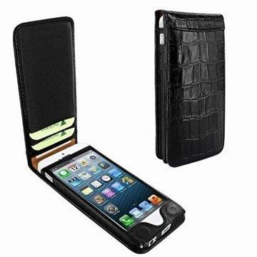 iPhone 5 / 5S / SE Piel Frama Classic Magneettinen Nahkakotelo Krokotiili Musta