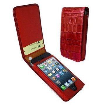 iPhone 5 / 5S / SE Piel Frama Classic Magneettinen Nahkakotelo Krokotiili Punainen