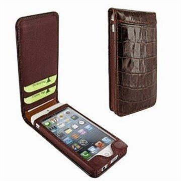 iPhone 5 / 5S / SE Piel Frama Classic Magneettinen Nahkakotelo Krokotiili Ruskea