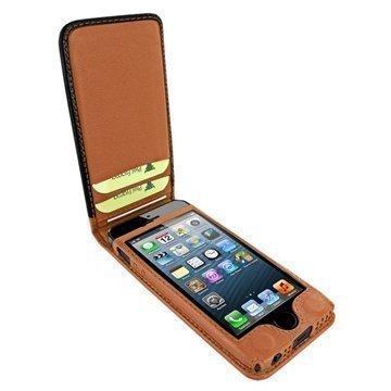 iPhone 5 / 5S / SE Piel Frama Classic Magneettinen Nahkakotelo Musta / Keltaruskea