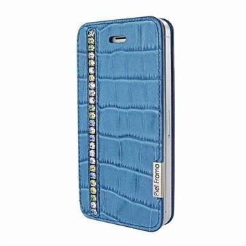 iPhone 5 / 5S / SE Piel Frama FramaSlim Läpällinen Nahkakotelo Krokotiili Swarovski Sininen