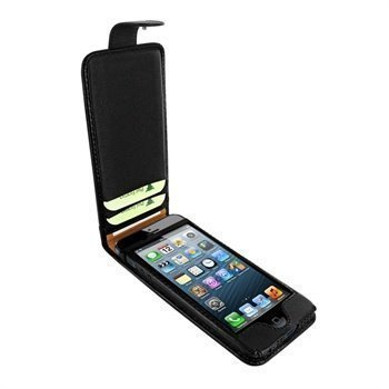 iPhone 5 / 5S / SE Piel Frama Kannellinen Nahkakotelo Musta
