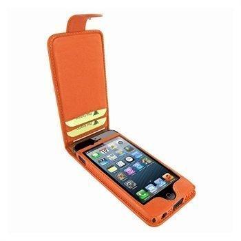 iPhone 5 / 5S / SE Piel Frama Kannellinen Nahkakotelo Oranssi