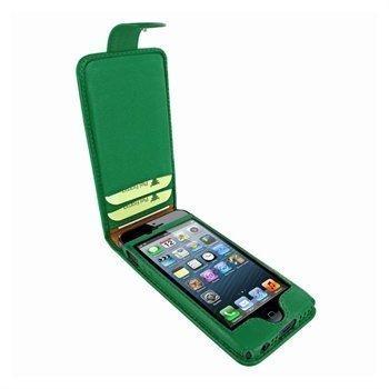 iPhone 5 / 5S / SE Piel Frama Kannellinen Nahkakotelo Tummanvihreä