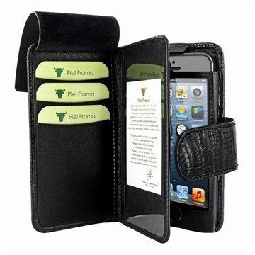 iPhone 5 / 5S / SE Piel Frama Lompakkomallinen Nahkakotelo Lisko Musta