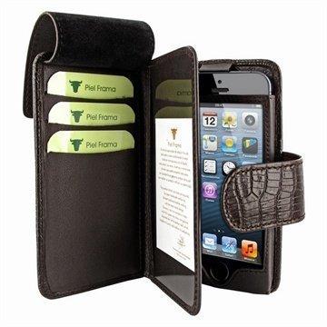 iPhone 5 / 5S / SE Piel Frama Lompakkomallinen Nahkakotelo Lisko Ruskea