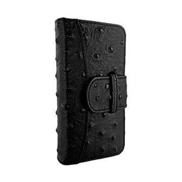 iPhone 5 / 5S / SE Piel Frama Lompakkomallinen Nahkakotelo Strutsi Musta