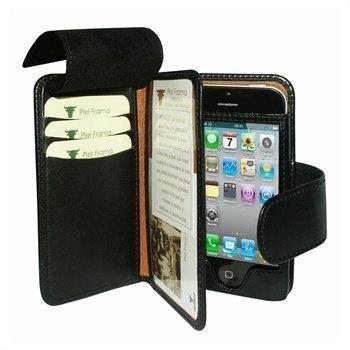 iPhone 5 / 5S / SE Piel Frama Nahkainen Lompakkokotelo Musta