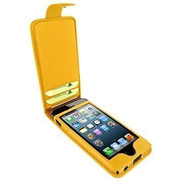 iPhone 5 / 5S / SE Piel Frama Nahkakotelo Nepparisulkimella Keltainen