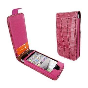 iPhone 5 / 5S / SE Piel Frama Nahkakotelo Nepparisulkimella Krokotiili Fuksia