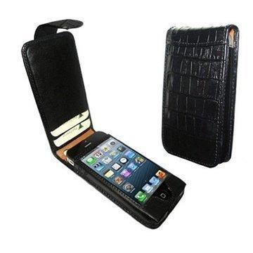 iPhone 5 / 5S / SE Piel Frama Nahkakotelo Nepparisulkimella Krokotiili Musta
