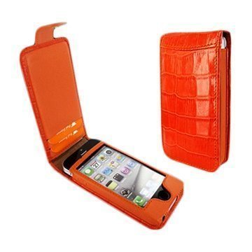 iPhone 5 / 5S / SE Piel Frama Nahkakotelo Nepparisulkimella Krokotiili Oranssi