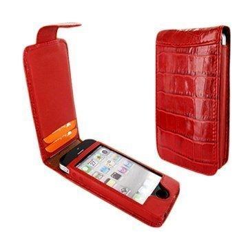 iPhone 5 / 5S / SE Piel Frama Nahkakotelo Nepparisulkimella Krokotiili Punainen
