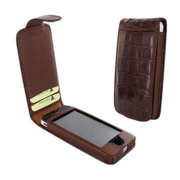 iPhone 5 / 5S / SE Piel Frama Nahkakotelo Nepparisulkimella Krokotiili Ruskea