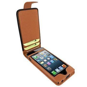 iPhone 5 / 5S / SE Piel Frama Nahkakotelo Nepparisulkimella Musta / Keltaruskea