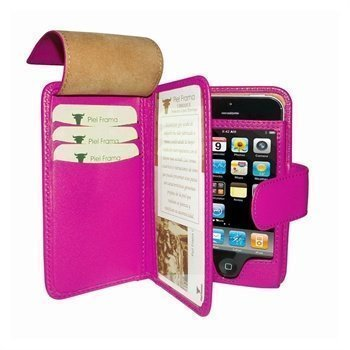 iPhone 5 / 5S / SE Piel Frama Wallet Nahkakotelo Fuksia