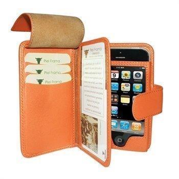iPhone 5 / 5S / SE Piel Frama Wallet Nahkakotelo Oranssi