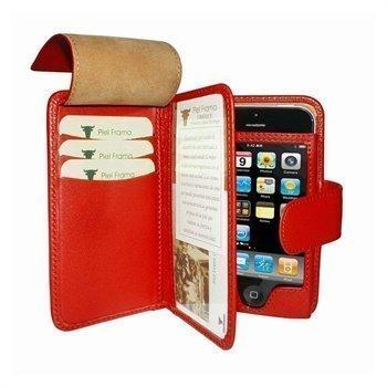 iPhone 5 / 5S / SE Piel Frama Wallet Nahkakotelo Punainen